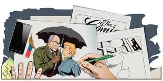 Elderly man closes the girl from the rain umbrella. Royalty Free Stock Image