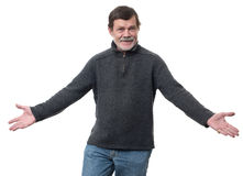 Elderly man confused isolated Stock Photo