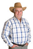 An elderly man in a cowboy hat. Isolated. White background Stock Image
