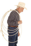 Elderly man cowboy rope side Stock Image