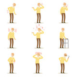 Elderly man diseases, pain problem in back, neck, arm, heart, knee and head. Senior health set of colorful cartoon. Characters detailed vector Illustrations Royalty Free Stock Photo