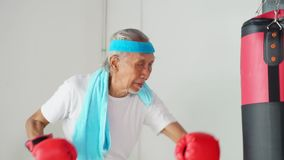 Elderly man doing boxing workout stock video footage