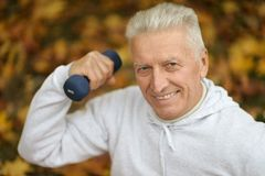 Elderly man exercising Royalty Free Stock Images