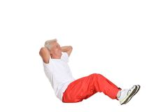 Elderly man exercising Royalty Free Stock Image