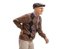 Elderly man experiencing back pain Royalty Free Stock Photography