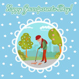 Elderly man feeding birds in the park. Greeting card for grandparents day. Stock Images