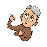 Elderly man feeling dizzy, fainting. Flat design icon. Flat vector illustration. Isolated on white background. vector illustration