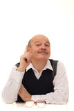 Elderly man in formal attire gives instruction about life. Stock Photo