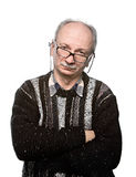 Elderly man in glasses and jacket Royalty Free Stock Photography