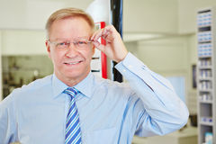 Elderly man with glasses at Royalty Free Stock Image