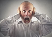 Elderly man going crazy Royalty Free Stock Photos