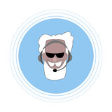 An elderly man with a gray beard and mustache with headphones with a microphone. Flat icon. stock illustration