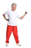 Elderly man in gym Royalty Free Stock Photography