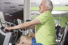 Elderly man in the gym Royalty Free Stock Photo