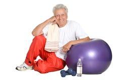 Elderly man in gym Stock Photos