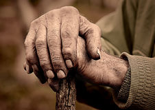 Elderly man hand holding a staff Royalty Free Stock Photo