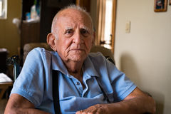 Elderly Man. Elderly handicapped 80 plus year old man in a home setting Royalty Free Stock Images