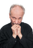 Elderly man with hands joined Royalty Free Stock Photography