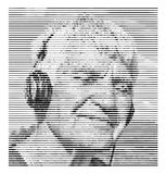 Elderly man in headphones with closed eyes listening to music and smiling. Black white portrait. Line effect for photo Royalty Free Stock Photo