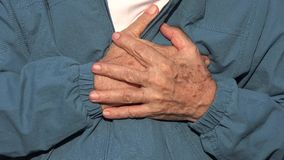 Elderly Man With Heart Attack Or Chest Pain stock video