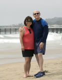 Elderly man and his Korean wife standing on Mission Beach Royalty Free Stock Photo