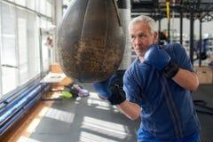 Elderly man hitting punching bag in boxing studio. Senior caucasian man in gloves beats punching bag in gym stock photo