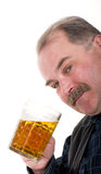 Elderly man holding a beer belly Royalty Free Stock Photo