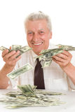 Elderly man holding money Stock Photography