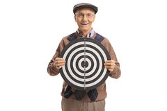 Elderly man holding a target and smiling Royalty Free Stock Image