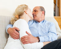 Elderly man hug with mature wife with happiness Royalty Free Stock Image