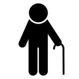 Elderly man icon. Pensioner silhouette symbol. Vector. Elderly man with walking stick icon. Pensioner silhouette symbol. Vector illustration Royalty Free Stock Image