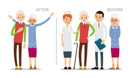 Elderly man is ill and feels bad. Senior before and after the disease. Recovered patient surrounded by doctors and nurses. Illustration of people characters stock illustration