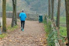 Elderly man jogging in park in autumn Royalty Free Stock Photo