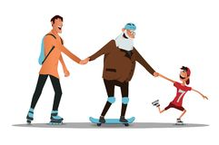 Seniors riding with family. Vector illustration. An elderly man learn to ride a skateboard with his son and grandson Royalty Free Stock Images