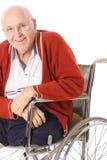 Elderly man with leg amputation. Isolated on white stock image