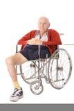 Elderly man with leg amputation vertical. Isolated on white royalty free stock image