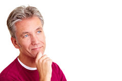 Elderly man looking thoughtful Stock Photography