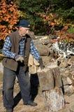 Elderly man lumberjack 5 Stock Images