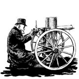 Elderly man with a machine gun. Engraving style vector illustration Royalty Free Stock Photography