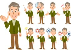 Elderly man Men expression and pose set 9 types _ whole body. The image of an Elderly man Men expression and pose set 9 types _ whole body stock illustration