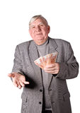 Elderly man with money in hands Stock Image
