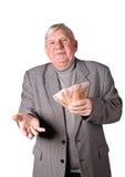 Elderly man with money in hands Stock Image