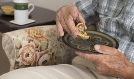 Elderly Man with Morning Tea. Royalty Free Stock Image