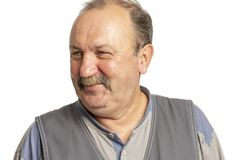 Elderly man with a mustache laughing, close-up royalty free stock photos