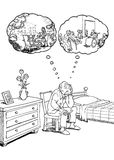 Elderly man and nursing home. Elderly man in his bedroom thinking about nursing home solution vector illustration