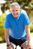 Elderly man out for a run Stock Photos