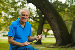 Elderly man outdoor Stock Photo