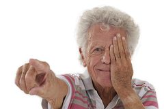 Elderly man picturing himself Royalty Free Stock Photo
