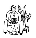 An elderly man playing the accordion sitting in a chair in the living room Royalty Free Stock Photos