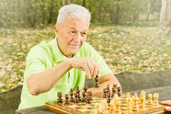 Elderly man playing chess. In the park royalty free stock images